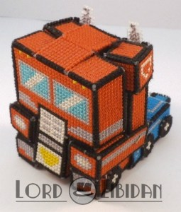 Optimus Prime Transforming 3D Cross Stitch by Lord Libidan in truck form