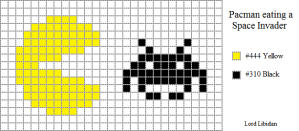 Pacman eating space invader free pattern