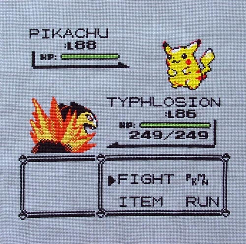 Pokemon Fight Cross Stitch by zomb13unicorns (source: spritestitch.com)