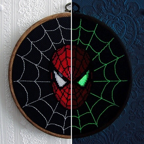 Spiderman Glow In The Dark Cross Stitch by stitchFIGHT (source: mrxstitch.com)