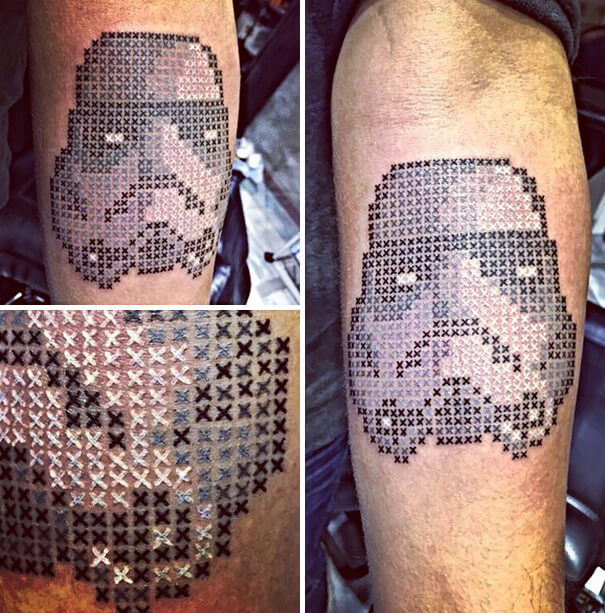 Storm Trooper Star Wars Cross Stitch Tattoo by Eva Krbdk (source: pinterest.com)