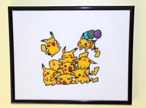 pikachu pile cross stitch