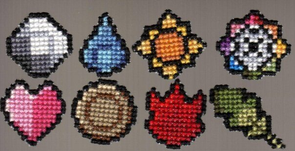 Pokemon Kanto Badges Cross Stitch by stitchplease (source: spritestitch.com)