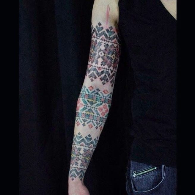 Cross Stitch Sampler Tattoo Sleave by Anich Andrew (source: instagram)