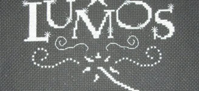 Harry Potter Lumos glow-in-the-dark Cross Stitch by craftythingsbylaura (source: twitter)