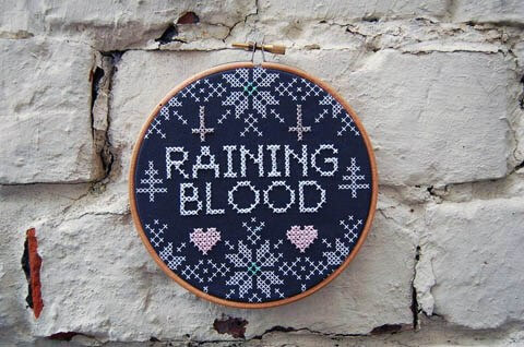 Slayer Cross Stitch by Kate Blandford (source: kateblandford.com)