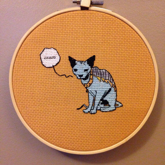 Saga the lying cat cross stitch