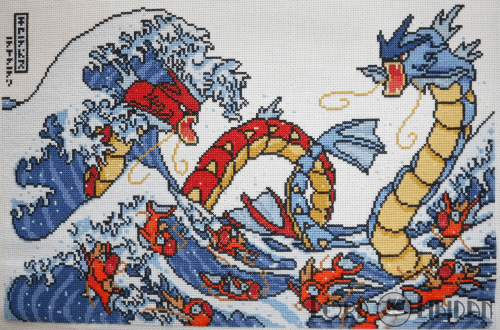 Pokemon Great Wave Cross Stitch