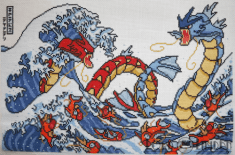 Pokemon Great Wave Cross Stitch