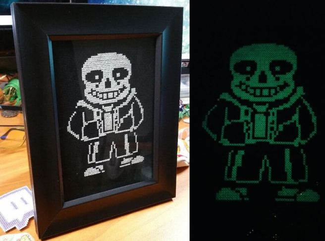 sans undertail glow in the dark cross stitch