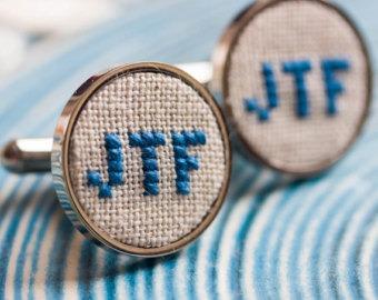 monogramed cross stitch cufflinks by skrynka (source: etsy)