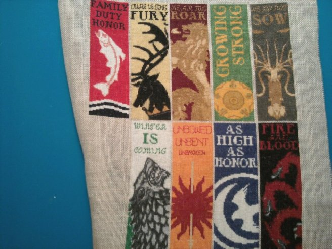 Game of Thrones House Banners Cross Stitch on Linen by Minnie (source: minnie-allxxs.blogspot.com)