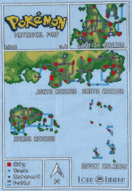 Pokemon National Map cross stitch by Lord Libidan