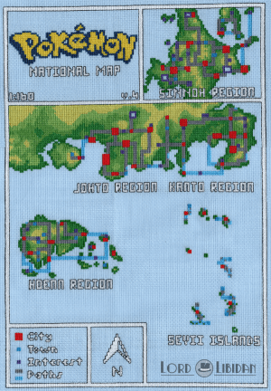 Pokemon National Map cross stitch by Lord Libidan
