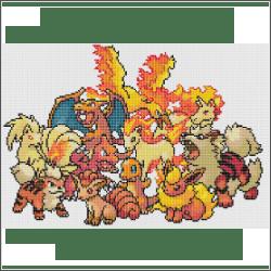 fire pokemon free cross stitch pattern