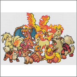 fire pokemon free cross stitch pattern