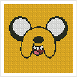 free adventure jake the dog face cross stitch pattern