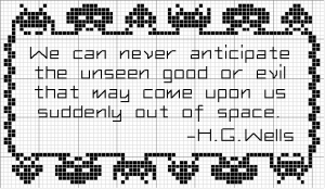 space invaders hg wells quote cross stitch pattern