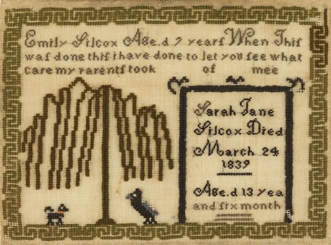 Mourning Sampler (USA), 1839; Embroidered by Emily Silcox (American); wool embroidery on cotton foundation; H x W: 8 1/4 x 11in.