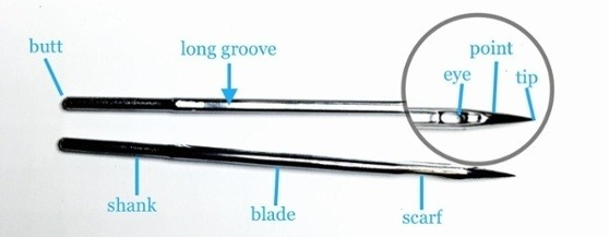 machine sewing needle labeled