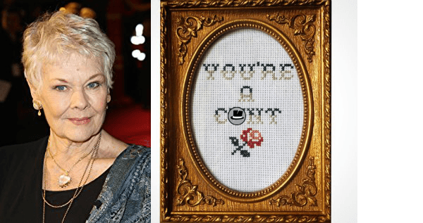 judi dench cross stitcher