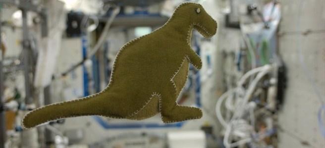 NASA astronaut Karen Nyberg's stuffed toy dinosaur floats on the International Space Station Credit NASA
