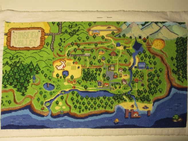 stardewvalley map cross stitch by Bunia