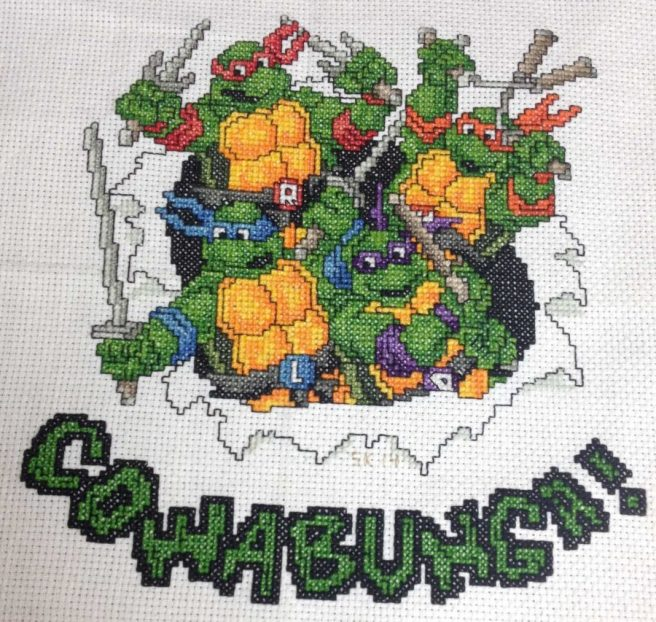 Teenage Mutant Ninja Turtles cross stitch by Sieberella (source: reddit)