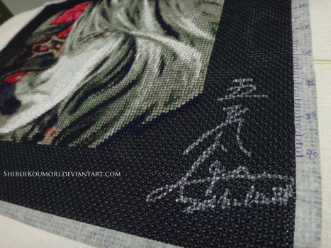 shiroikoumori cross stitch with IGAs signature (source: pinterest)