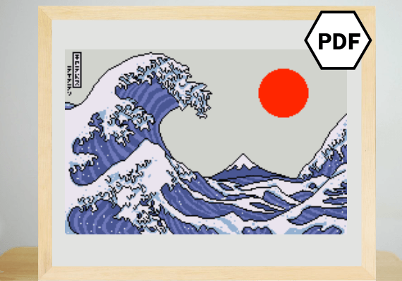 Great Wave Inspired Japanese Cross Stitch Pattern by Lord Libidan (Source: Etsy)