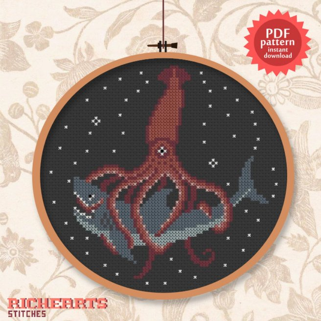Giant Squid vs Great White Shark Cross Stitch Pattern by Richearts (Source: Etsy)