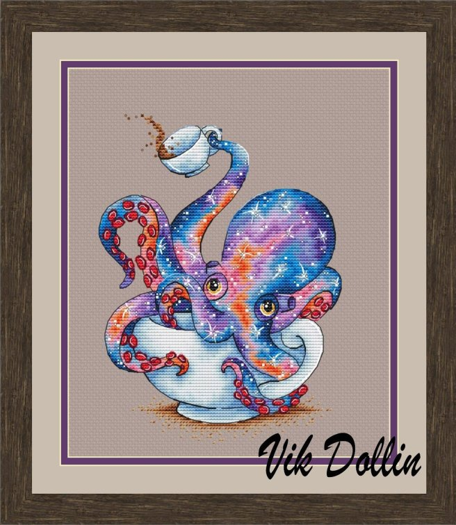 Octopus Tea Cross Stitch Pattern by LoLaLottaShop (Source: Etsy)