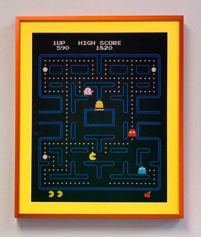 Pacman screenshot cross stitch in frame by gmatom (Source: reddit)