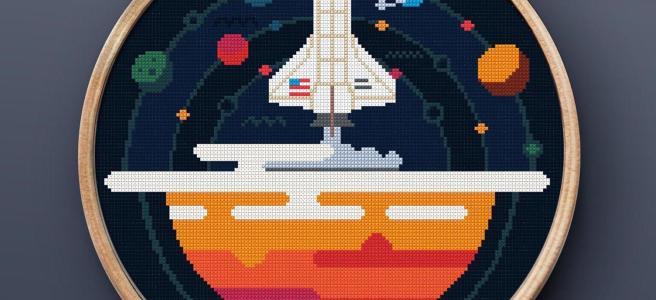 Space Rocket Cross Stitch Pattern by PRINTandDECOR (Source: Etsy)