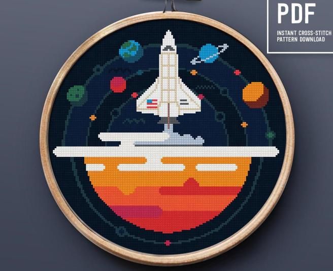 Space Rocket Cross Stitch Pattern by PRINTandDECOR (Source: Etsy)