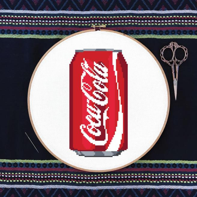 Coca Cola Can Cross Stitch Pattern by DJStitches (Source: Etsy)