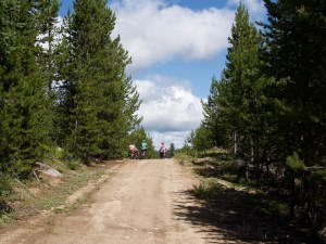 brightly clad cyclists disappearing over the horizon of a roll-y dirt road along a ridge in the upper Grande Ronde River drainage