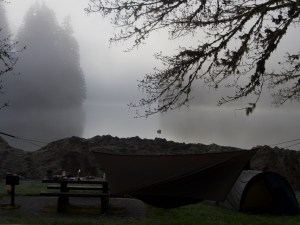 foggy early morning camp scene explained by a limerick: There once was a trip to Loon Lake The sand was piled high like a cake The feds, they stepped in And shuttered the shit bin But we stayed the last night anyway
