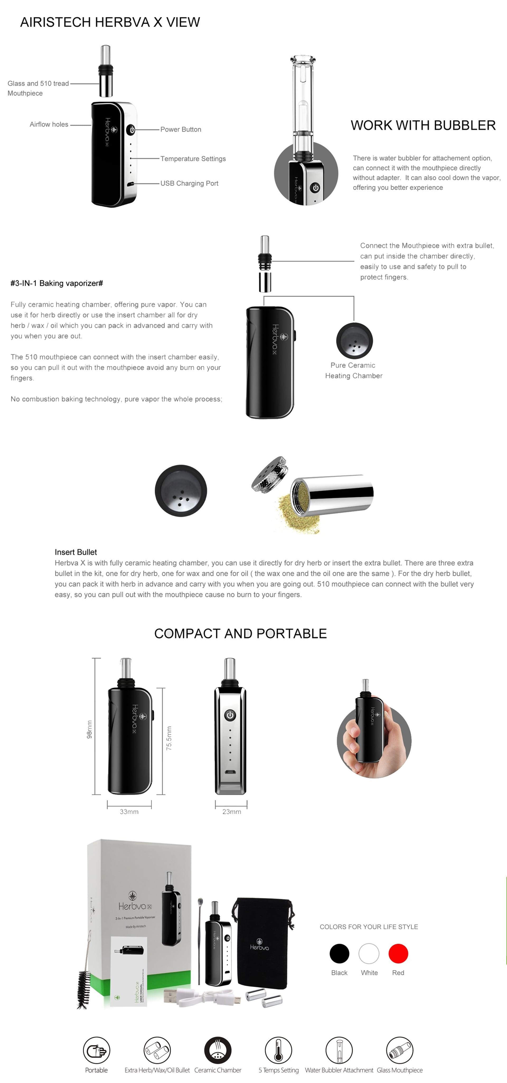Airistech Herbva X 3-in-1 vaporizer product summary