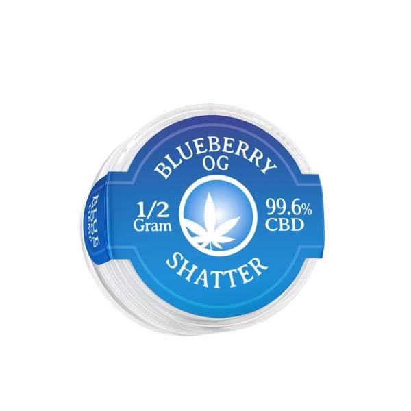 Blue Moon Hemp 99.6% pure CBD shatter in 0.5g size