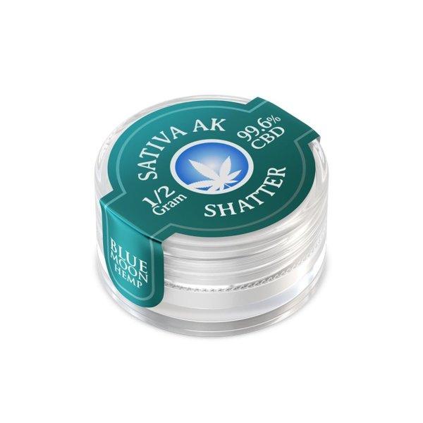Blue Moon Hemp 99.6% pure CBD shatter in 0.5g size Sativa AK47