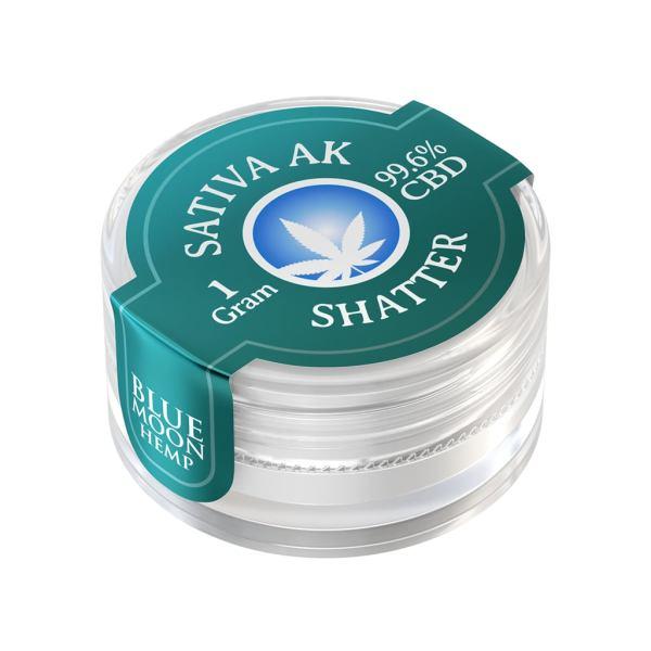 Blue Moon Hemp 99.6% pure CBD shatter in 1g size Sativa AK47