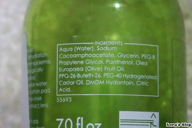 Apa micelara din gama Natural Olive ziaja ingrediente