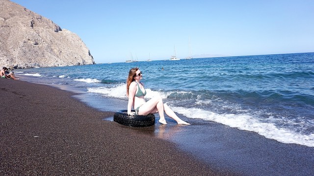 visiting Perissa Beach in Santorini