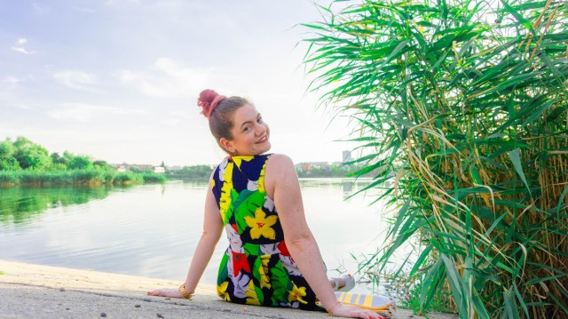 rochie inflorata de vara - apus in Bucuresti