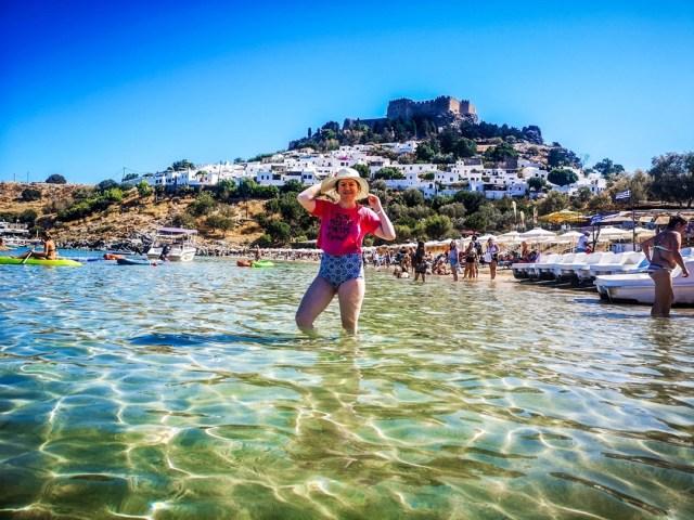 lorys blog at Lindos Beach, Rodos - Acropolis View