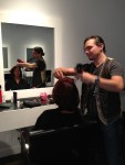 Lorelei Shellist image consultant getting haircut by Olvier at Dry Cuts