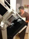 Lorelei Shellist image consultant getting mammogram - See the x-ray slides taped to the platform