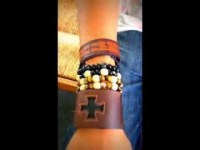 Reece Sutton's wrist candy leather cuff bracelet with cross, bead bracelets bears witness to his Family Gratitude