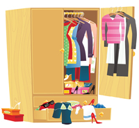 Become your own Fashion Icon™- armoire with clothes and shoes spilling out it